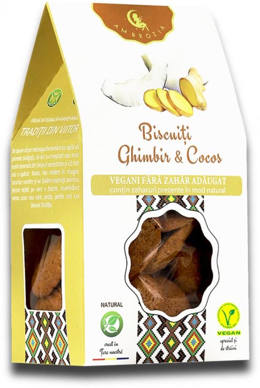 Biscuiți vegani ghimbir & cocos (150 g)